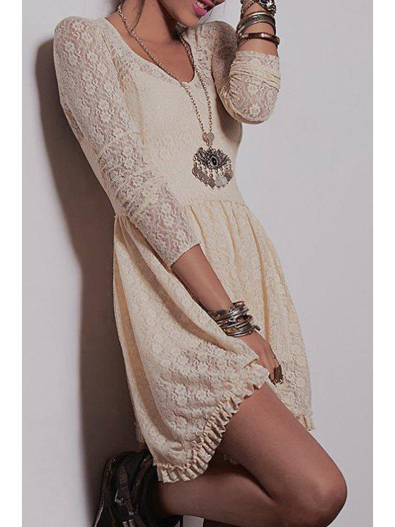 3262c54e1e1 18% OFF  2019 Ruffled V Neck Long Sleeve Lace Dress In OFF-WHITE ...