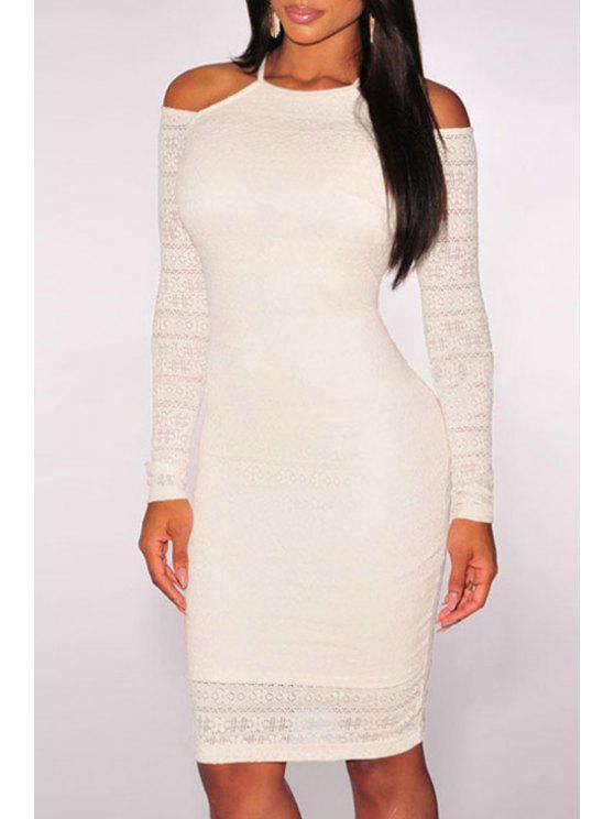 trendy Cut Out Bodycon Round Neck Long Sleeves Dress - WHITE ONE SIZE(FIT SIZE XS TO M)