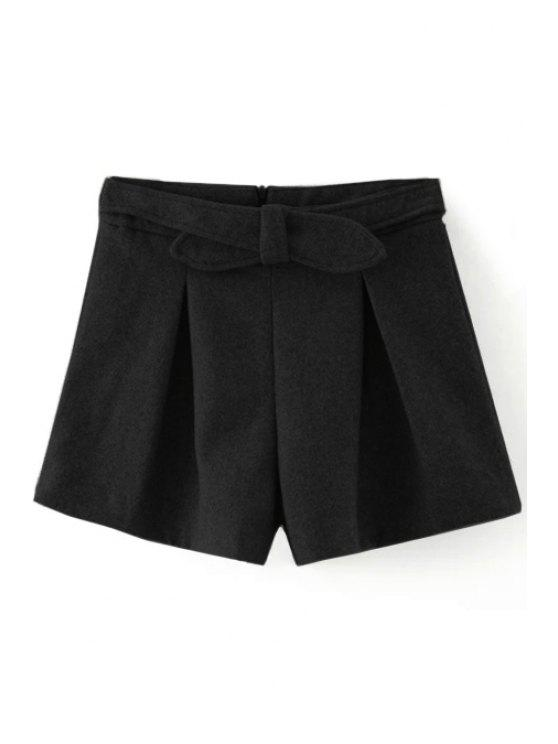 outfit Solid Color Wide Leg Bowknot Shorts - BLACK L