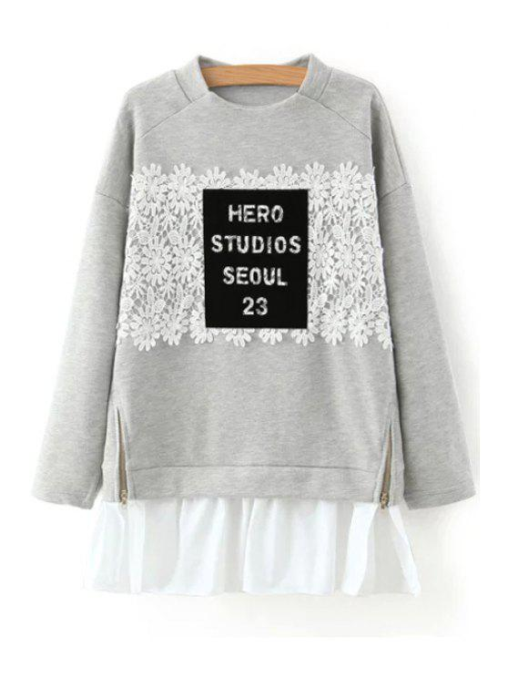 women Crochet Flower Spliced Long Sleeve Sweatshirt - GRAY L