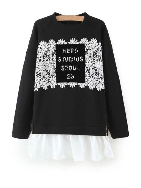 shop Crochet Flower Spliced Long Sleeve Sweatshirt - BLACK M