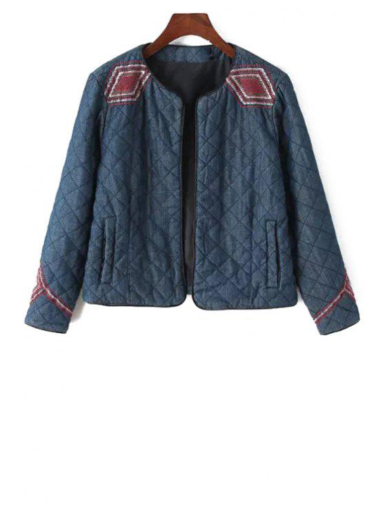 outfit Argyle Embroidery Long Sleeve Jacket - BLUE S
