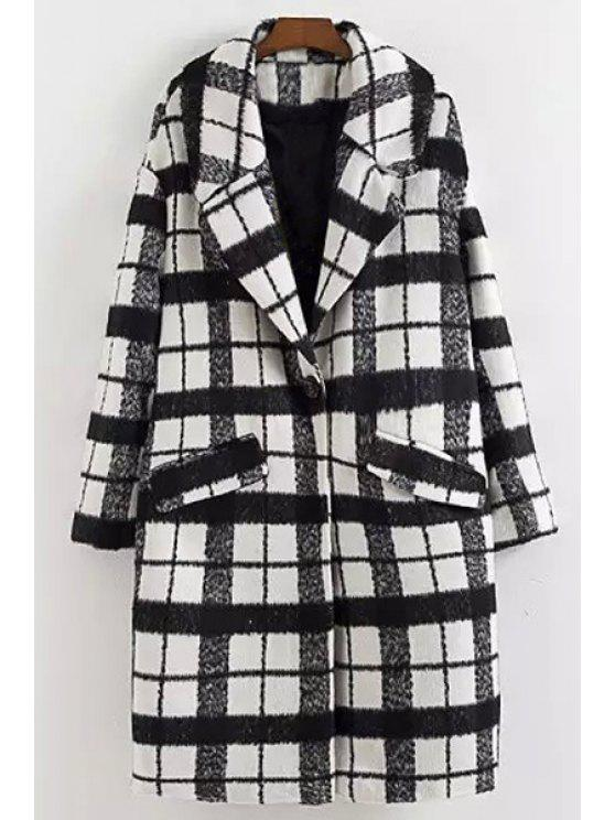 outfit Plaid Lapel Long Sleeve Worsted Coat - WHITE AND BLACK S