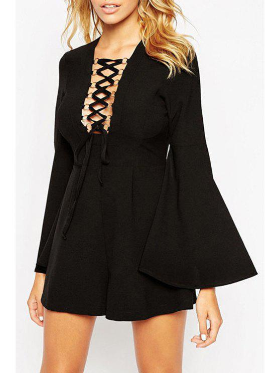 lady Solid Color Lace Up Long Bell Sleeves Romper - BLACK M