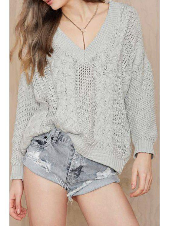 buy Gray V Neck Long Sleeve Cable-Knit Jumper - GRAY ONE SIZE(FIT SIZE XS TO M)
