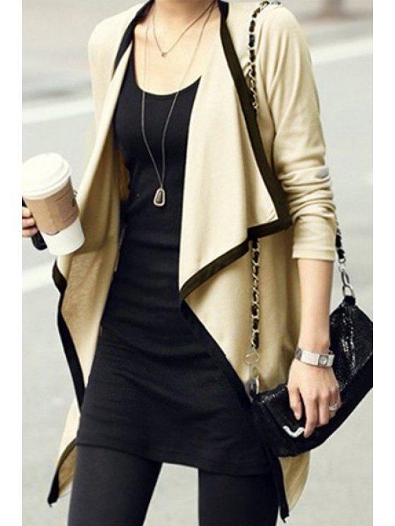 womens Plus Size Turn Down Collar Long Sleeve Cardigan - APRICOT XL