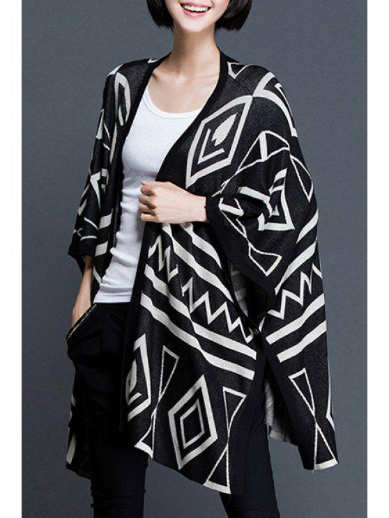 women Geometrical Pattern 3/4 Sleeve Cardigan - BLACK ONE SIZE(FIT SIZE XS TO M)