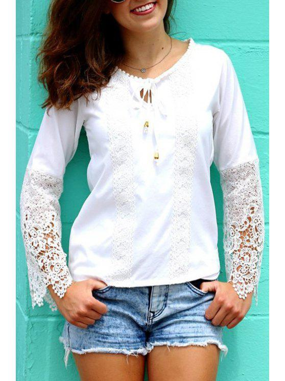 sale Lace Spliced Round Neck Long Sleeves Blouse - WHITE S