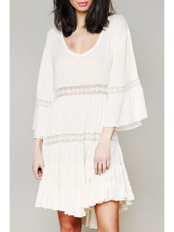 women Solid Color Openwork Lace Hook Scoop Neck Dress - WHITE S