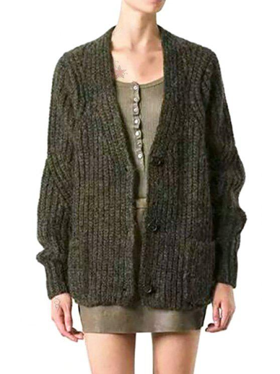 online Hit Color Plunging Neck Long Sleeve Cardigan - GREEN S