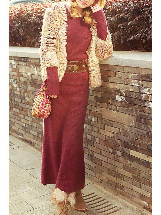 outfit Red Long Sleeve Wine Sweater Dress - WINE RED S