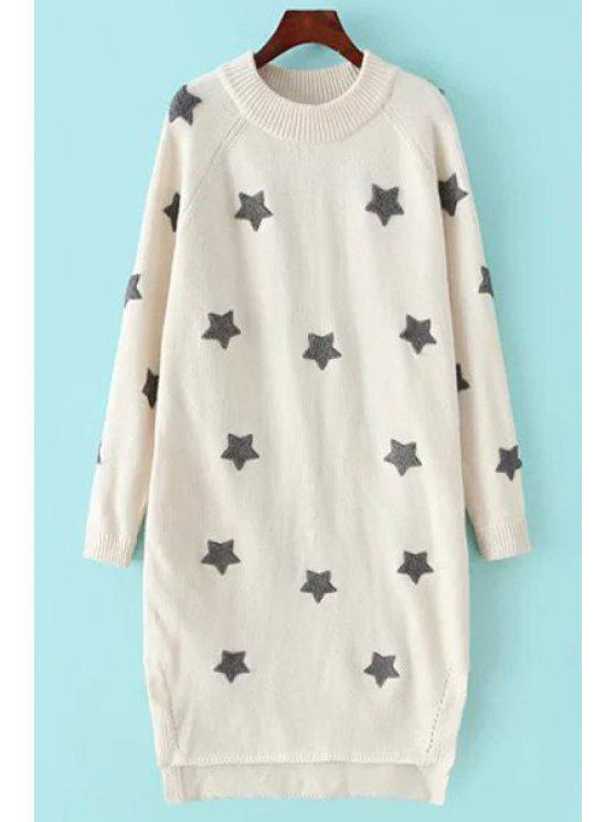 affordable High Low Hem Pentagram Print Round Collar Sweater - WHITE XS
