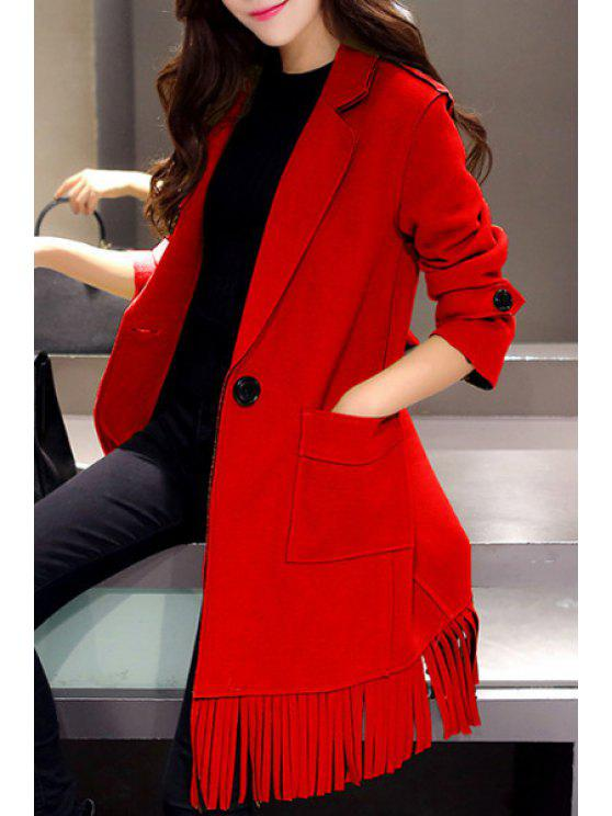 new Lapel Two Pockets Fringed Coat - RED L