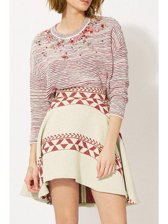 outfits Striped Long Sleeve Diamante Jumper - RED L