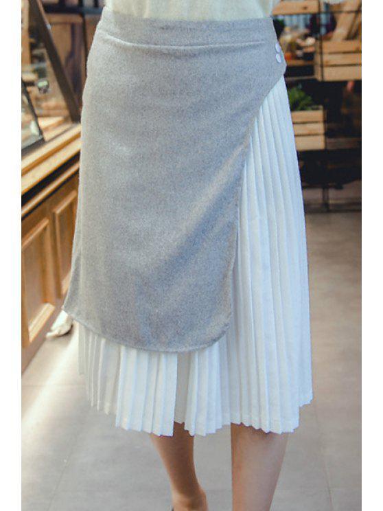 latest Pleated Woolen Spliced Irregular Skirt - GRAY M
