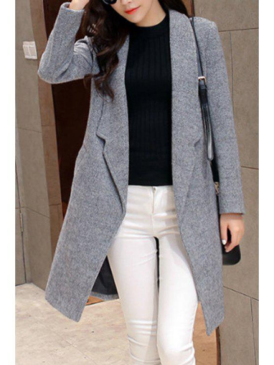best Solid Color Pocket Design Wool Coat - LIGHT GRAY S