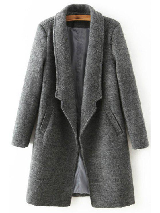 hot Solid Color Pocket Design Wool Coat - DEEP GRAY L