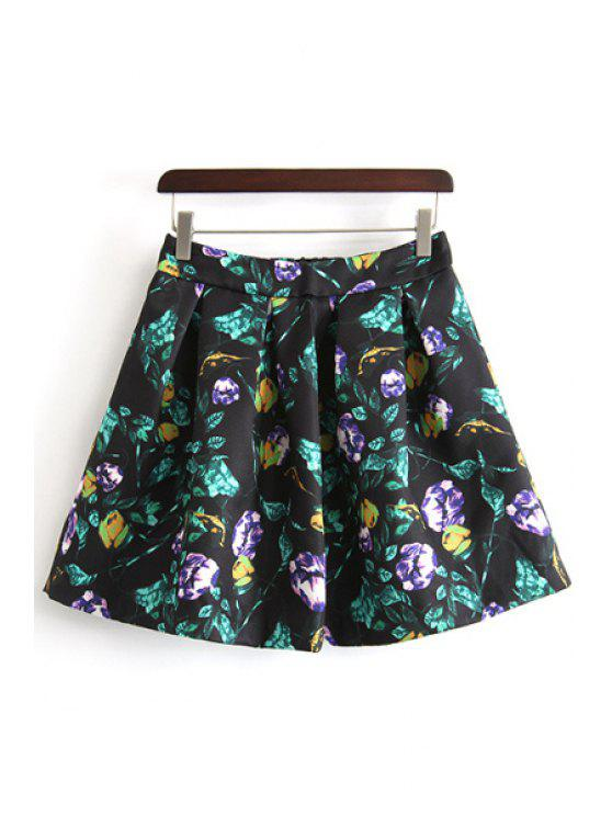 shops A-Line Ruffled Floral Print Skirt - BLACK S