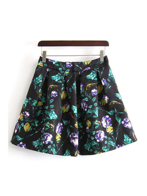 chic A-Line Ruffled Floral Print Skirt - BLACK L