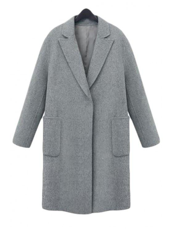 outfits Pocket Lapel Long Sleeves Worsted Coat - GRAY M