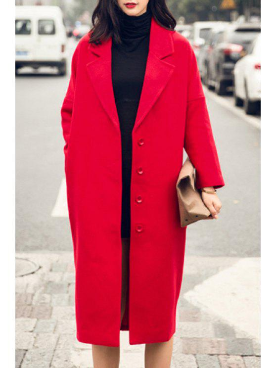 ladies Red Lapel Long Sleeve Worsted Coat - RED S