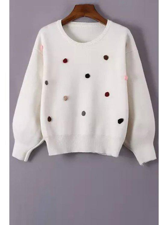 outfits Long Sleeve Stereo Floral Jumper - WHITE ONE SIZE(FIT SIZE XS TO M)