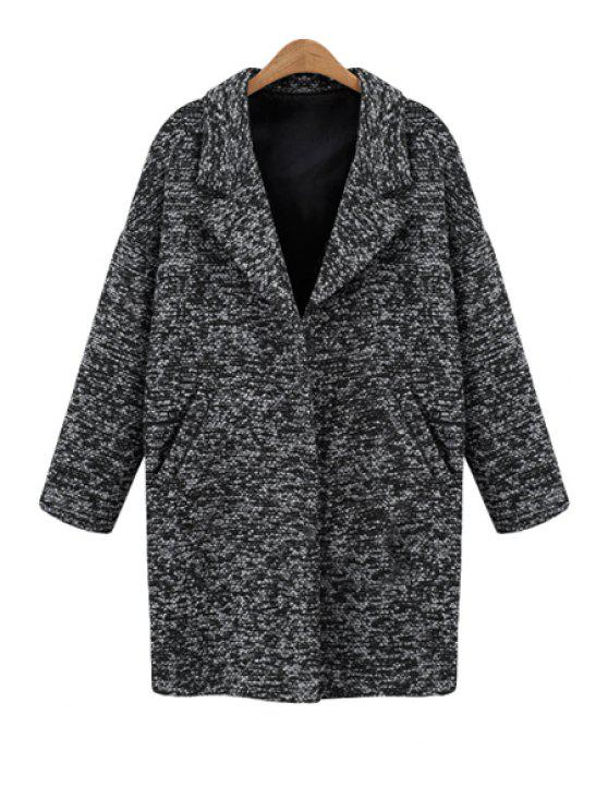 online Gray Lapel Long Sleeve Worsted Coat - DEEP GRAY S