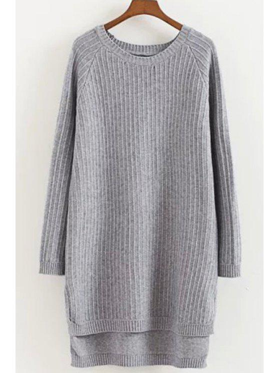 new Round Neck High Low Hem Long Sweater - GRAY ONE SIZE(FIT SIZE XS TO M)