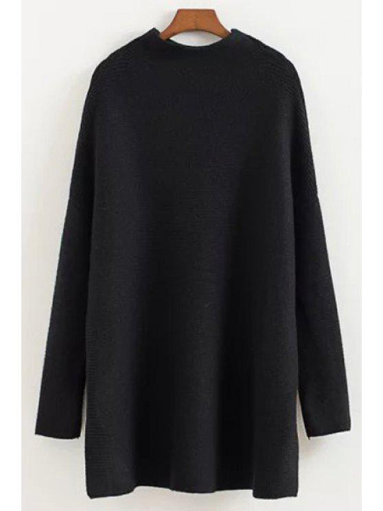 fancy Half-Collar Dropped Shoulder Sweater - BLACK ONE SIZE(FIT SIZE XS TO M)