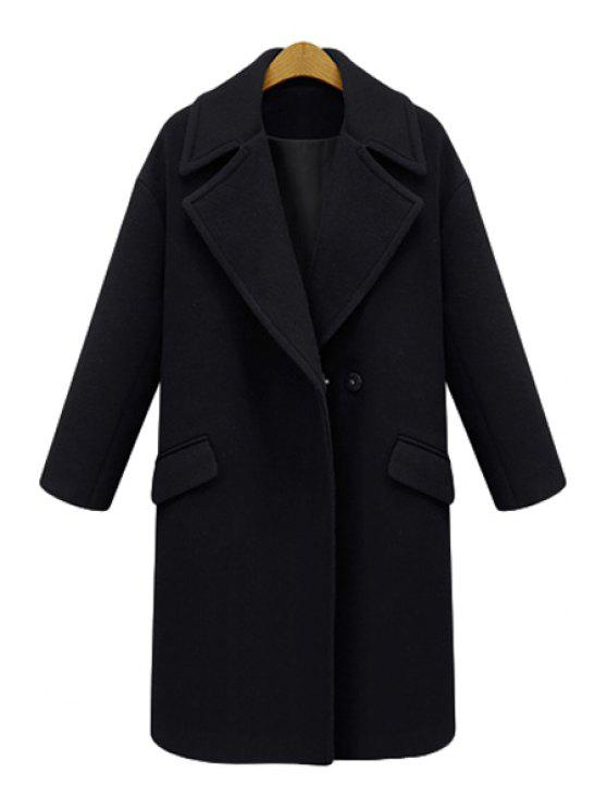 outfit Solid Color Lapel Long Sleeve Worsted Coat - BLACK 2XL