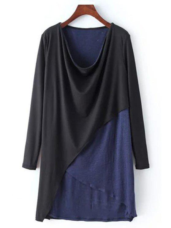 women's Color Block Asymmetrical Dress - BLACK ONE SIZE(FIT SIZE XS TO M)