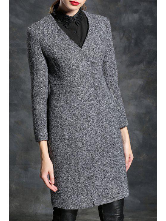 outfit Gray V Neck Long Sleeve Coat - GRAY S