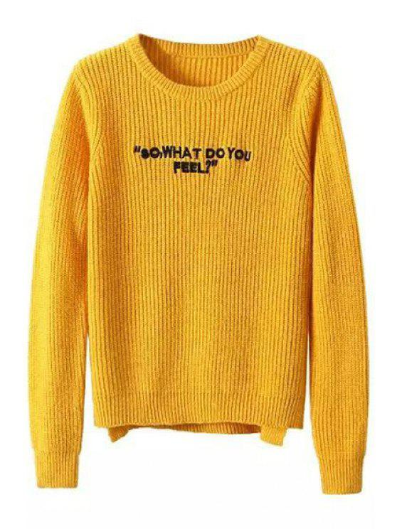 trendy Round Neck Letter Embroidered Sweater - YELLOW S