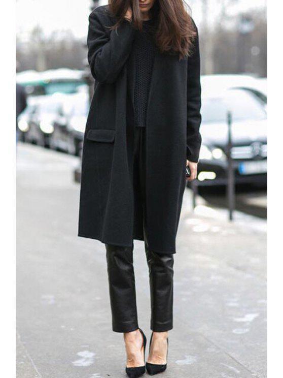 chic Black Turn Down Neck Long Sleeve Coat - BLACK S