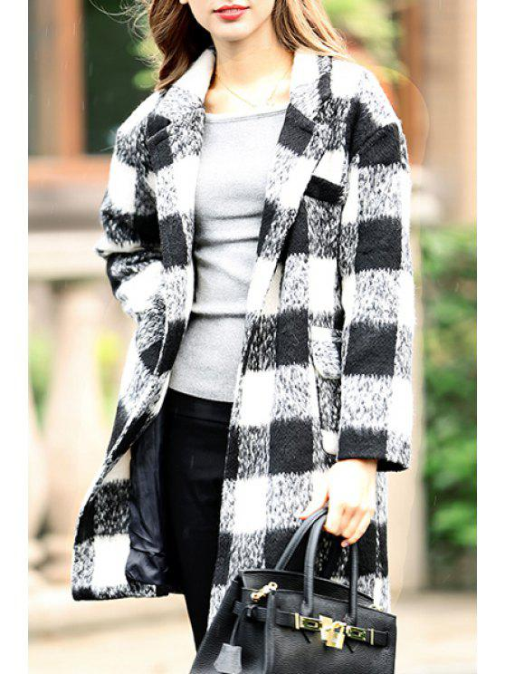 online Worsted Checked Lapel Long Sleeve Coat - WHITE S