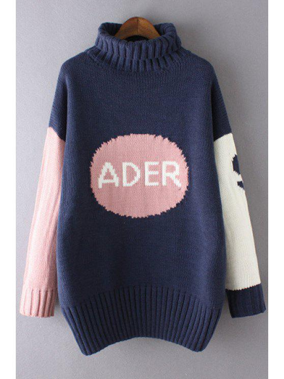 ladies Color Block Turtle Neck Letter Print Sweater - BLUE ONE SIZE(FIT SIZE XS TO M)