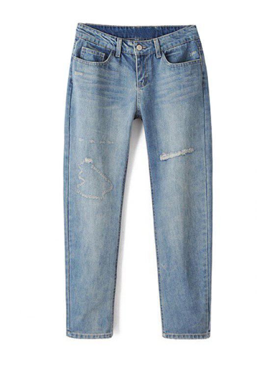 fashion Bleach Wash Ripped Light Blue Jeans - LIGHT BLUE S