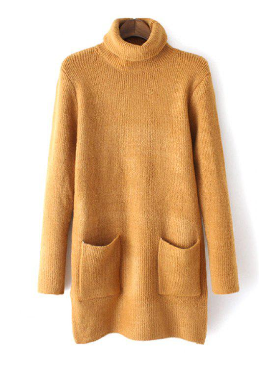 fancy Pure Color Pockets Turtle Neck Long Sleeves Sweater - KHAKI ONE SIZE(FIT SIZE XS TO M)
