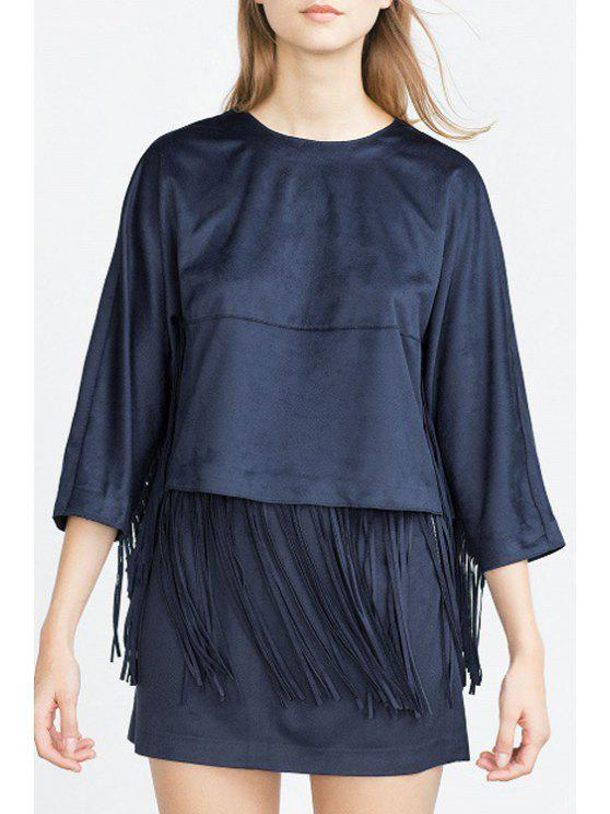 new 3/4 Sleeve Tassels Suede Blouse - BLUE XS