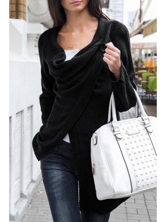 online Pure Color Long Sleeve One Button Cardigan - BLACK S