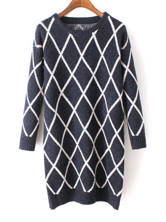 17c0b2bcd8504 2018 Argyle Pattern Round Neck Long Sleeves Sweater In PURPLISH BLUE ...