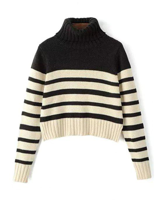 women's Turtle Neck Long Sleeve Striped Jumper - WHITE AND BLACK S