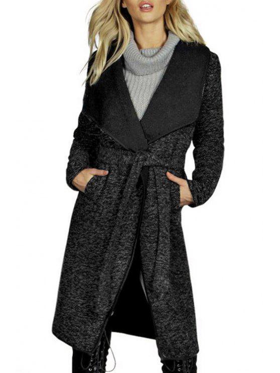 new Black Woolen Turn Down Collar Coat - BLACK M