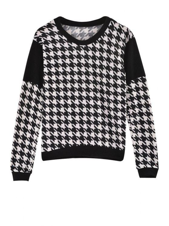outfit Houndstooth Jewel Neck Long Sleeve Sweatshirt - WHITE AND BLACK ONE SIZE(FIT SIZE XS TO M)
