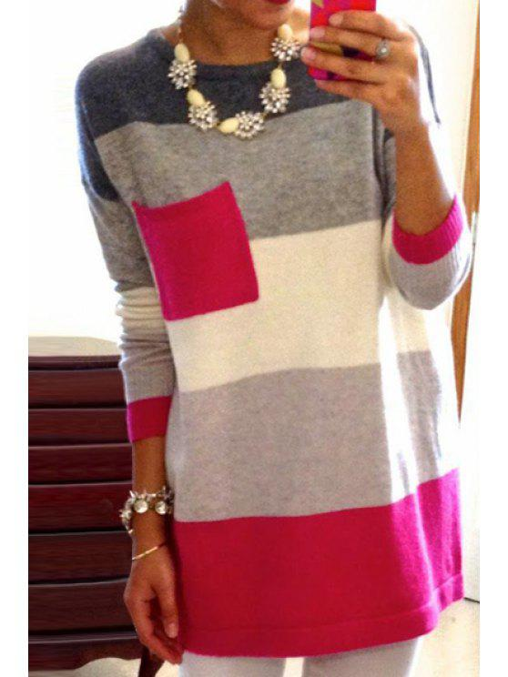 sale One Pocket Color Block Sweater - RED S