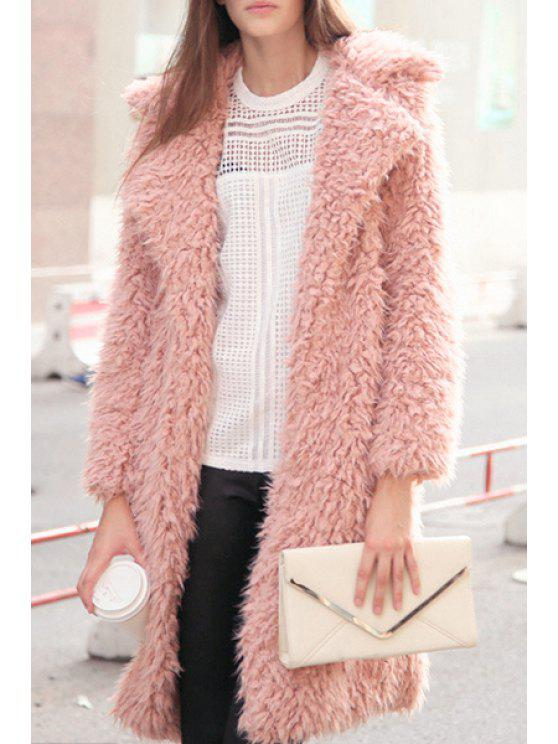 sale Faux Fur Collarless Long Sleeve Coat - PINK XL