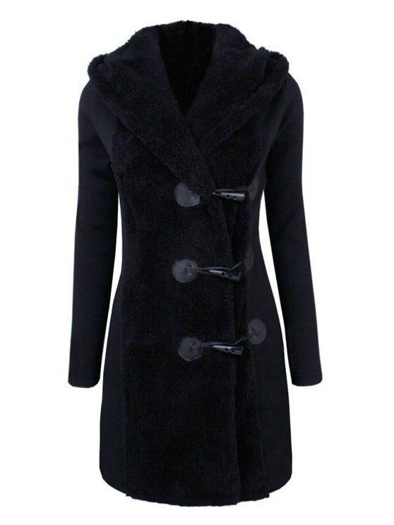 chic Hooded Horn Button Flocking Coat - BLACK 2XL
