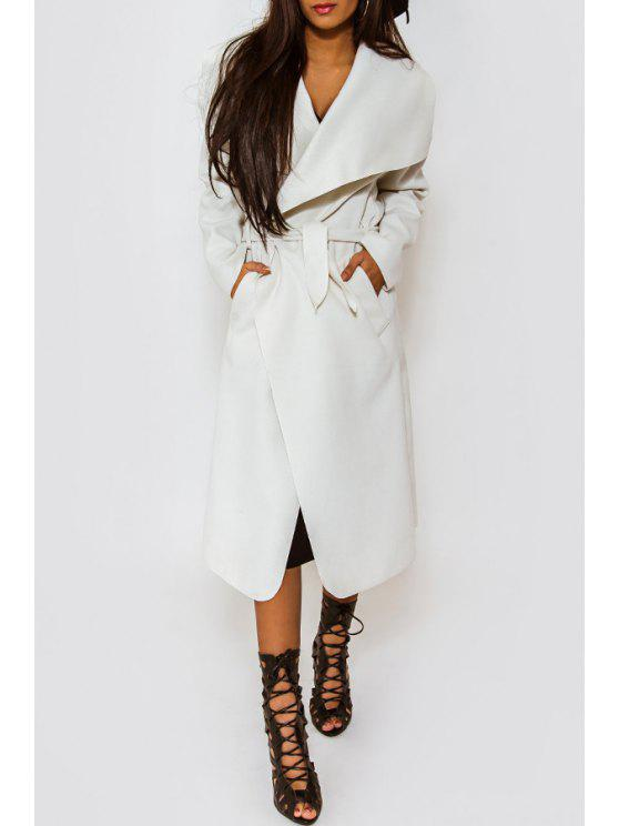 lady Solid Color Long Turn-Down Collar Woolen Coat - WHITE S