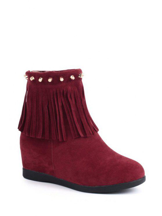 womens Increased Internal Rivets Fringe Short Boots - RED 37