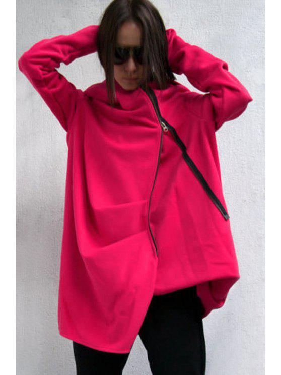 women Hooded Irregular Zipper Trench Coat - RED S